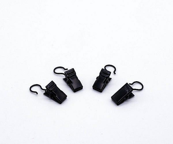 Gardinenklammern schwarz mit Haken 4 Stück