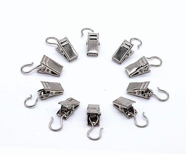 Gardinenklammern silber mit Haken 10 Stück