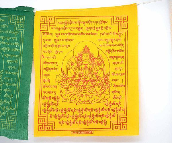 Gebetsfahne Avalokiteshvara gelb