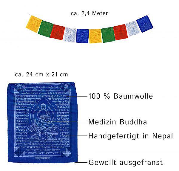 Tibetische Gebetsfahnen Medizin Buddha