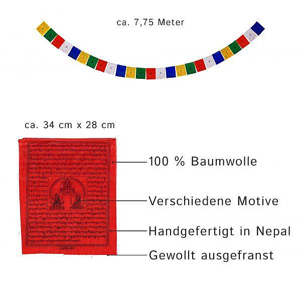 Tibetische Gebetsfahnen ca. 8 m
