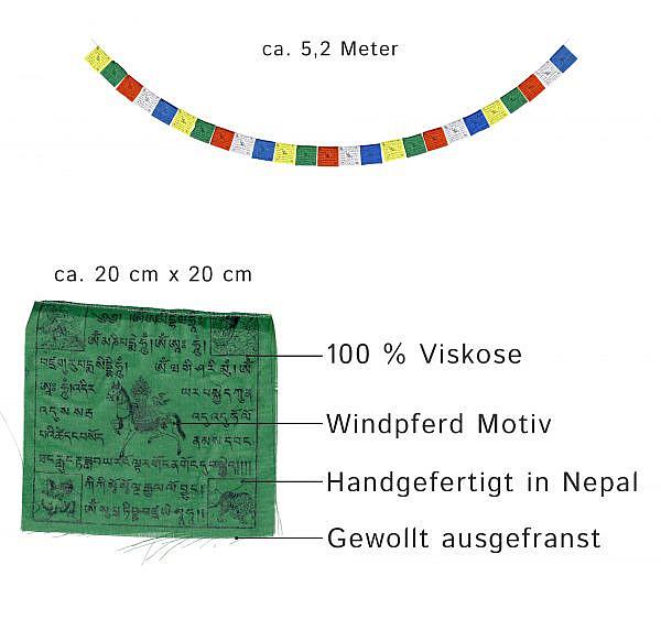 Tibetische Gebetsfahnen transparent Windpferd 5,2 m
