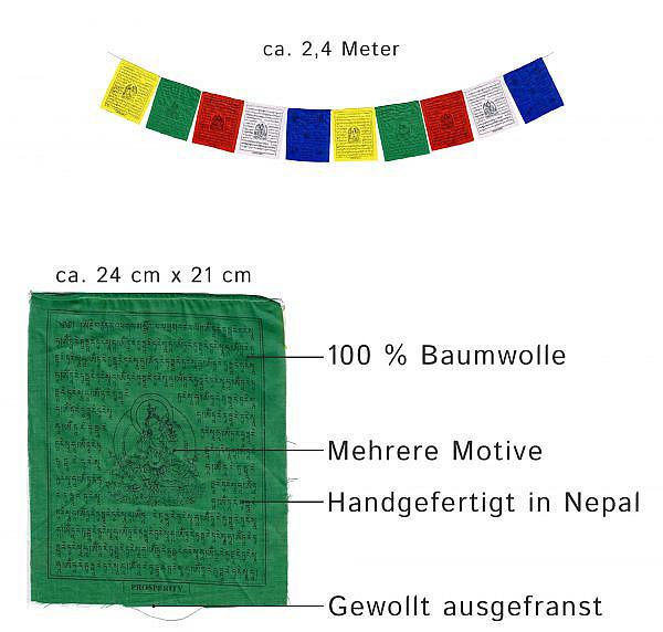Tibetische Gebetsfahnen weiße Tara